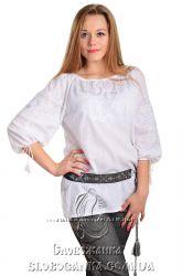 Батистова блуза з білою вишивкою Білослава