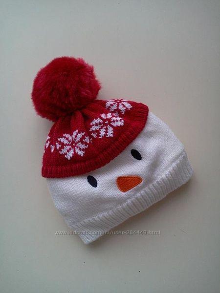 Вязаная шапочка-снеговичок на флисе от George на 0-3 мес.
