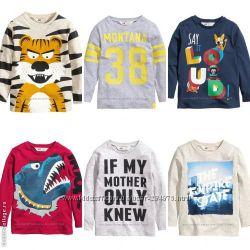 Стильные регланы на мальчиков, бренд H&M, размеры 98-104, 110-116, 122-128