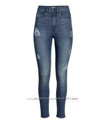 Стильные стрейчевые джинсы с завышеной талией, 34, 36, 38 размер бренд H&M