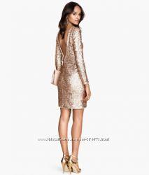 Шикарное платье , золотыми пайетками  бренд H&M,  размер М 40