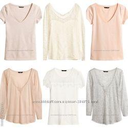 футболки и кофточки на любой вкус,  размер С и Л , бренд H&M