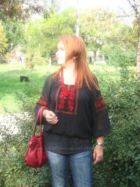 блуза-вышиванка на шифоне, ручная работа