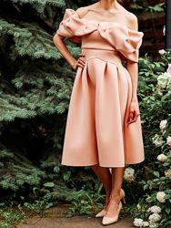 Шикарное вечернее выпускное платье ASOS S-M нюд. В подарок сережки