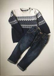 Тёплый комплект Джинсы Next и свитер HM 9-12 мес