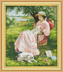 Наборы для вышивания крестиком - Девушка в саду