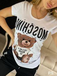 Стильная футболка, черная, белая, размеры