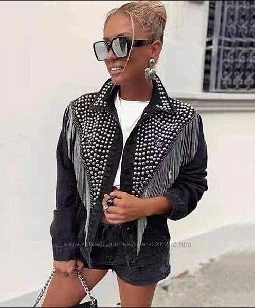 Крутая куртка джинс, свободного кроя,