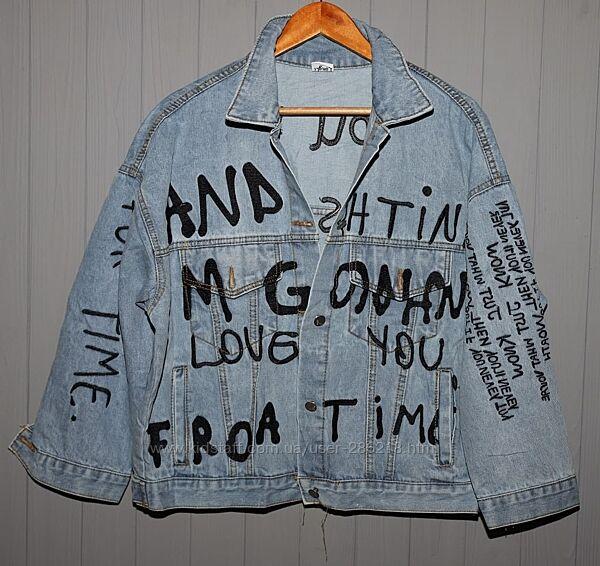 Крутая куртка, джинсовка, вышивка, 42-48