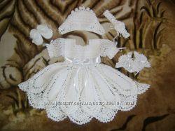 Вязаное крестильное платье под заказ