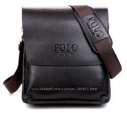 Мужская кожаная сумка POLO. Сумка-планшетка. Сумка через плечо.
