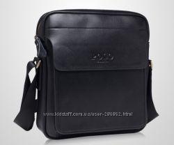 Мужская кожаная сумка POLO VIDENG через плечо. Сумка-планшетка. Messenger.