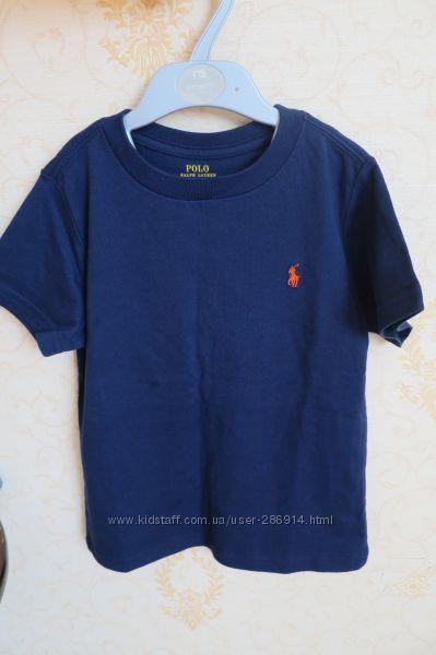 Красивая темно-синяя футболка на мальчика 4 года Ralph Lauren