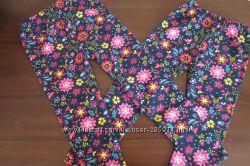 Теплые леггинсы черные в цветочек для девочки 5 и 8 лет