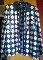 Гламурный жакет-куртка-пиджак для шикарной женщины кожа, Турция