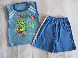 Футболки с шортами для мальчиков на лето 26-28 размера