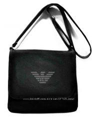 Мужская сумка мессенджер с вышивкой популярных брендовых логотипов
