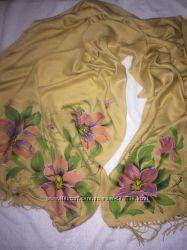 роспись на  палантине - купить палантин, шарф - отличное качество