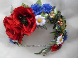 Украинский венок. Цветы ручной работы. Цветочные украшения для волос