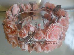 Цветочные украшения для волос. Веночек из роз