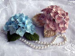 Цветы из ткани. Авторские броши