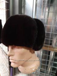 Мужские шапки Обманка из меха норки. Ушанка енот