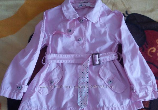 Очень красивый плащ, ветровка  H&M Германия, розовый