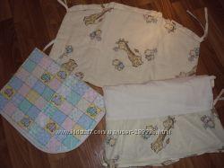 Защита в кроватку с простынкой на резиночке  клееночка в подарок