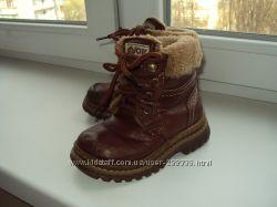 Ботинки кожаные - теплые, на искуственном меху - 15 см стелька