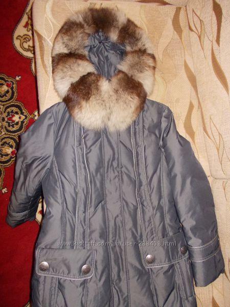 Пальто женское с натуральным мехом, отстегивается, осень-зима, состояние от