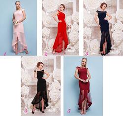 Элегантное вечернее платье - персик, синий, черный, красный, бордо