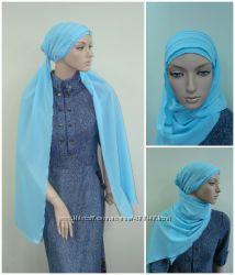 Легкий летний головной убор хиджаб Фериде из креп-шифона