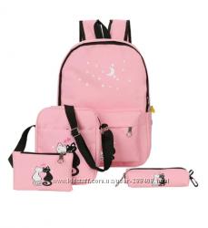 Набор рюкзак, сумочка, кошелек, пенал - 5 цветов