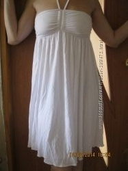 Платье-сарафан трикотажное белоснежное