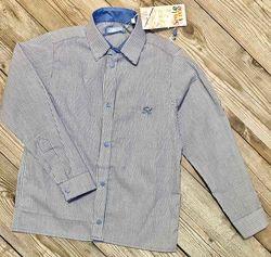 Рубашки детские с длинным рукавом, на кнопках из хлопка. рост 98-128