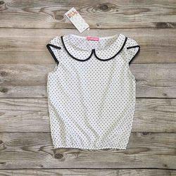 Блуза детская, блузка для девочек с коротким рукавом. рост 122-152
