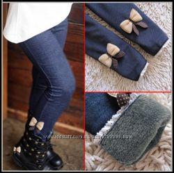 Теплые зимние детские лосины-джинсы  с мехом для девочек