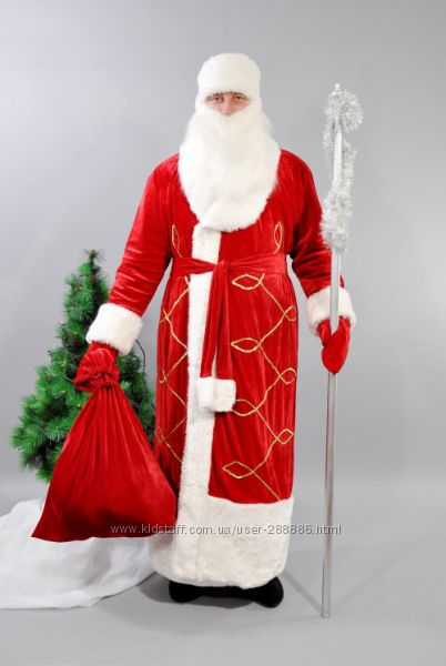 Новогодний костюм Деда Мороза красный
