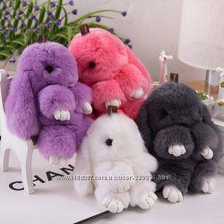 Акция к Новому году  Кролик-брелок с натурального меха, 15 см Оригинал