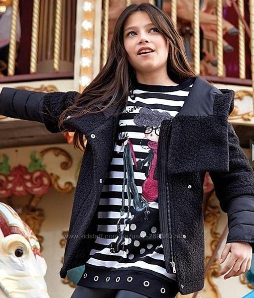 Продам утепленное черное куртку пальто с капюшоном Mayoral 128, 140 и 152см