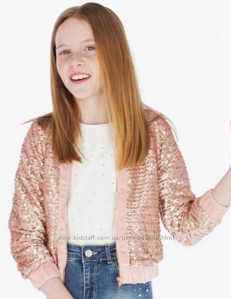 Нарядный стильный пиджак кофта жакет в пайетках Mayoral на 152 см