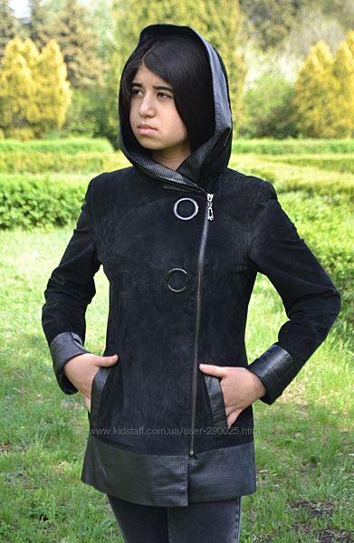 Куртка натуральный замш, вставки кожа, капюшон