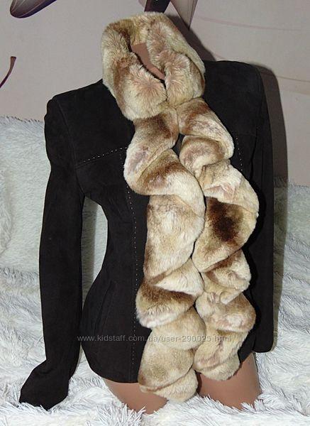 Куртка натуральный замш, воротник шиншилла