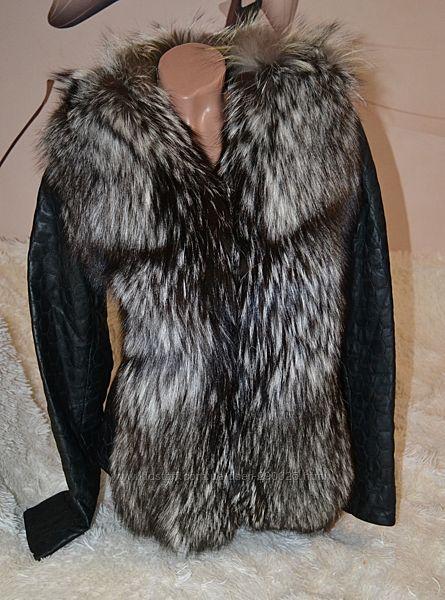 Куртка кожаная трансформер, мех чернобурка