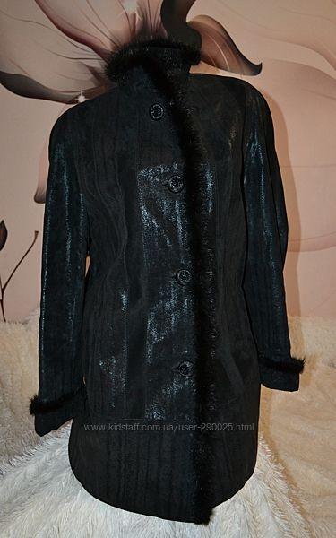 Замшевая куртка натуральная, с мехом норки