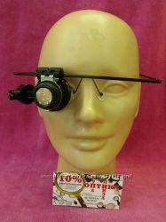 Лупа налобная 20x монокулярная очки монокль с подсветкой 1 led mg9