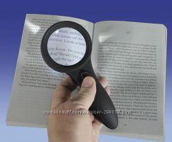 Лупа ручная круглая 6x-63 мм для чтения с подсветкой  ультрафиолет
