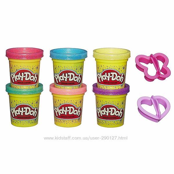 Набор Play-Doh из 6 баночек с блесточками